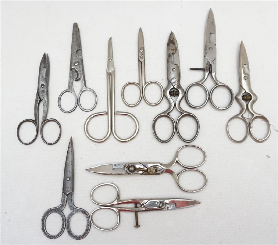 10 ANTIQUE / VINTAGE SEWING SCISSORS +