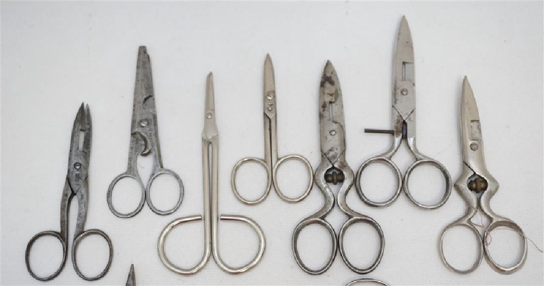 10 ANTIQUE / VINTAGE SEWING SCISSORS + - 2