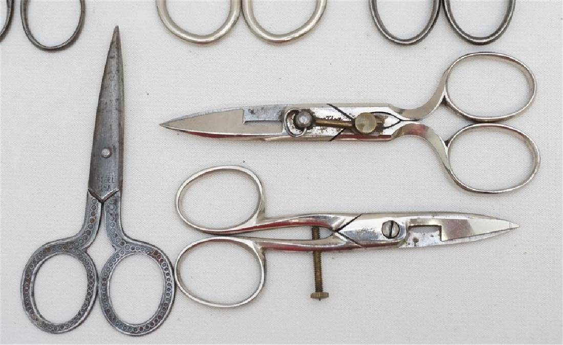 10 ANTIQUE / VINTAGE SEWING SCISSORS + - 3