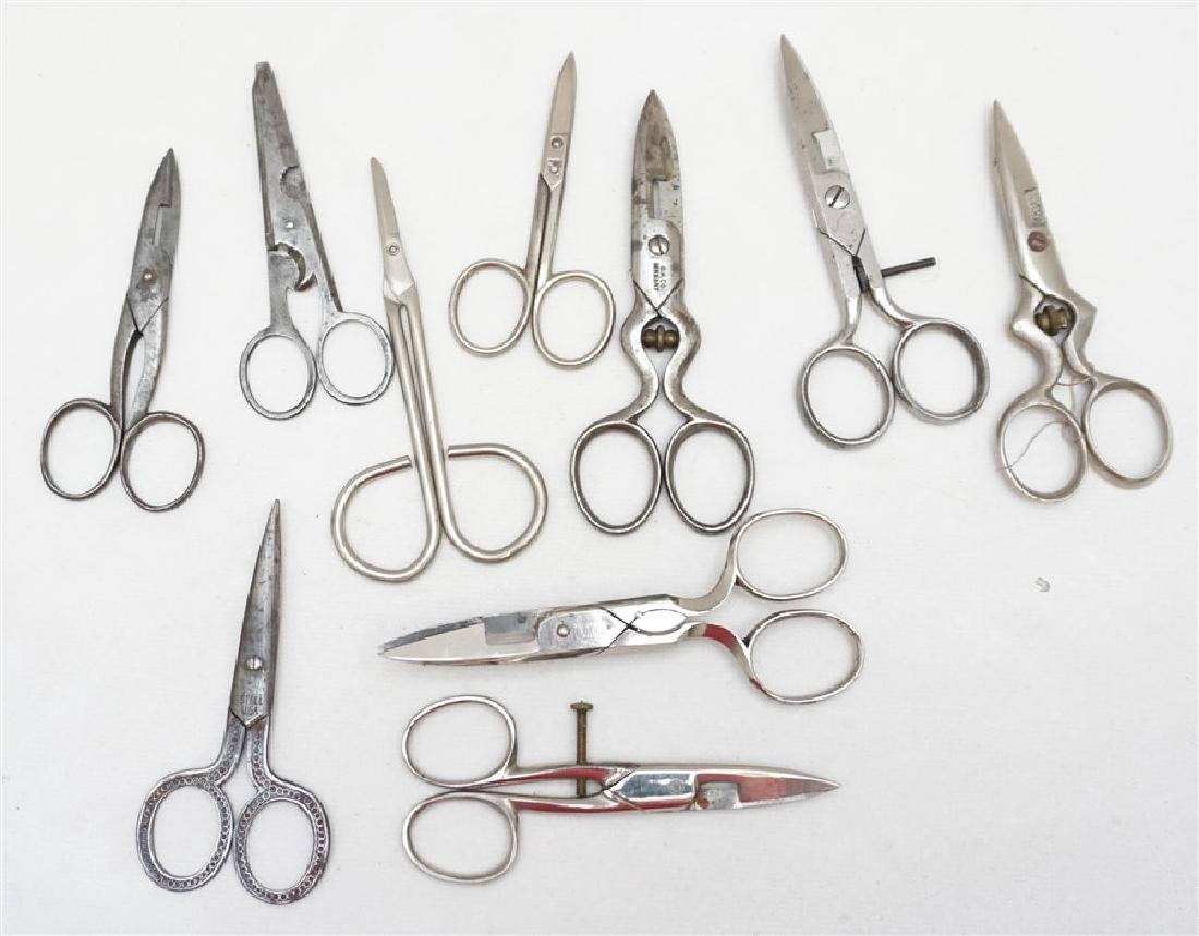 10 ANTIQUE / VINTAGE SEWING SCISSORS + - 4