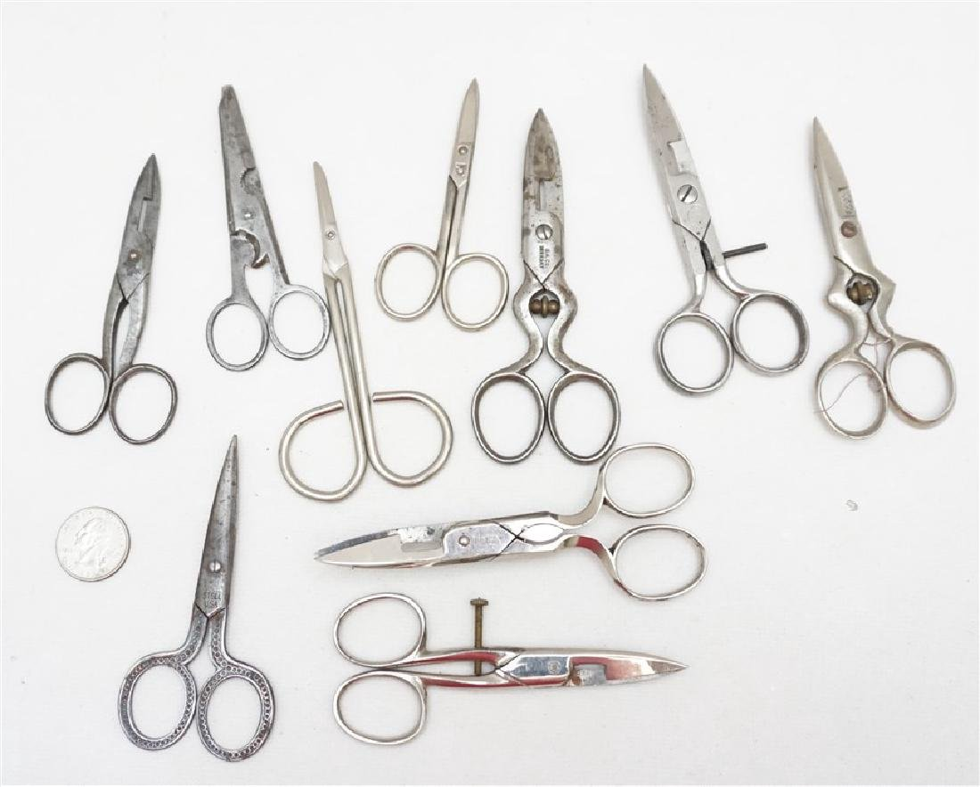 10 ANTIQUE / VINTAGE SEWING SCISSORS + - 5