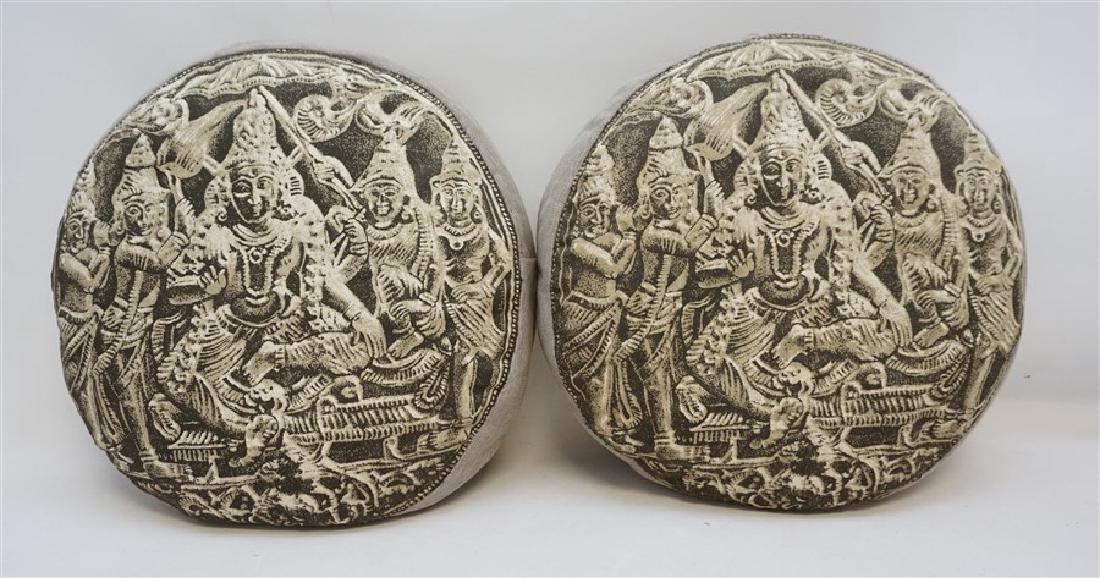 2 BUDDHA BLOCK PRINT INDIA DECORATIVE PILLOWS
