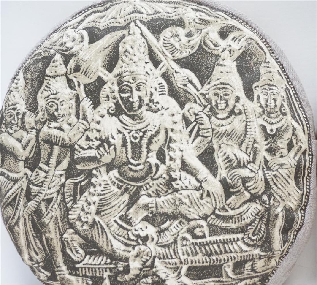 2 BUDDHA BLOCK PRINT INDIA DECORATIVE PILLOWS - 2
