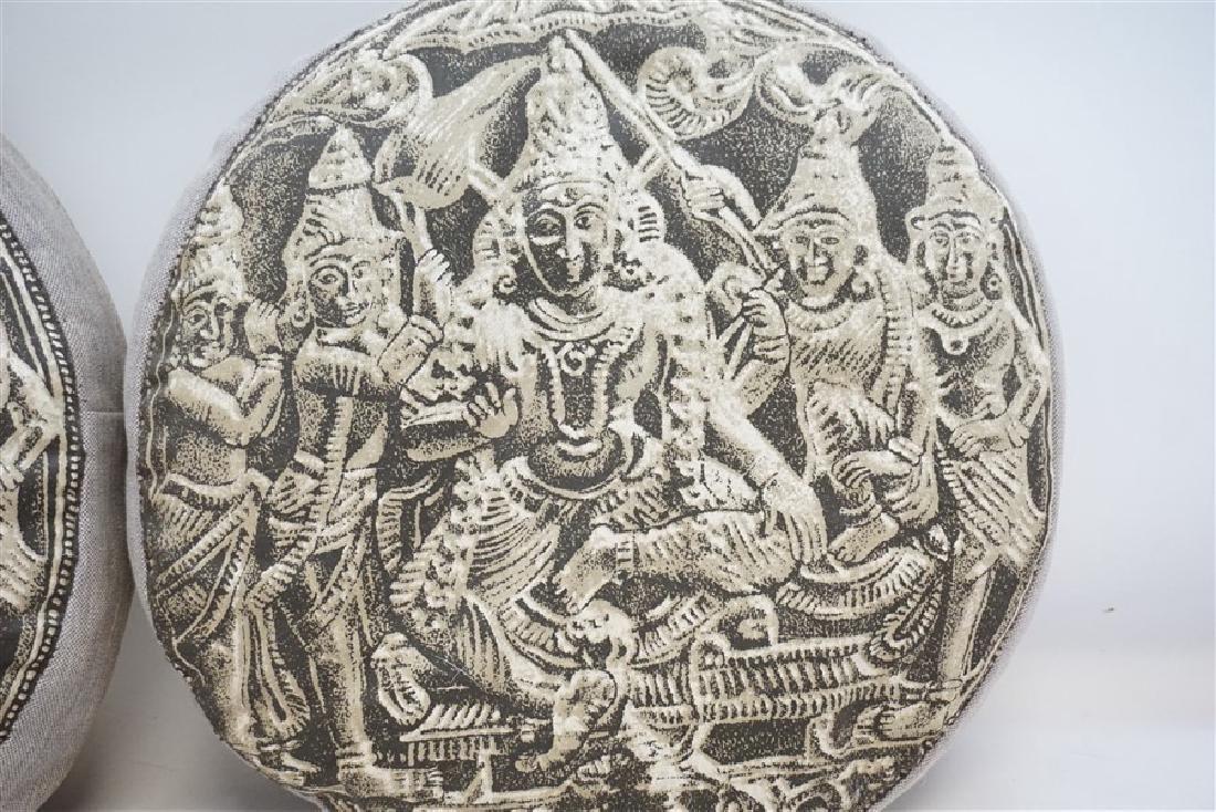 2 BUDDHA BLOCK PRINT INDIA DECORATIVE PILLOWS - 3