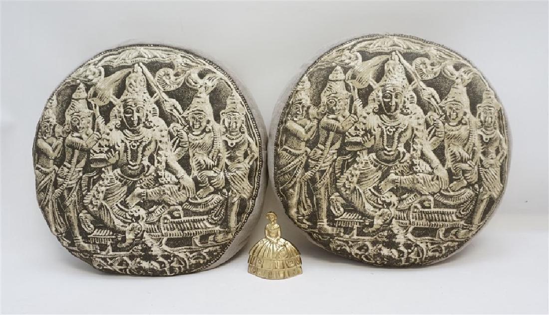 2 BUDDHA BLOCK PRINT INDIA DECORATIVE PILLOWS - 6