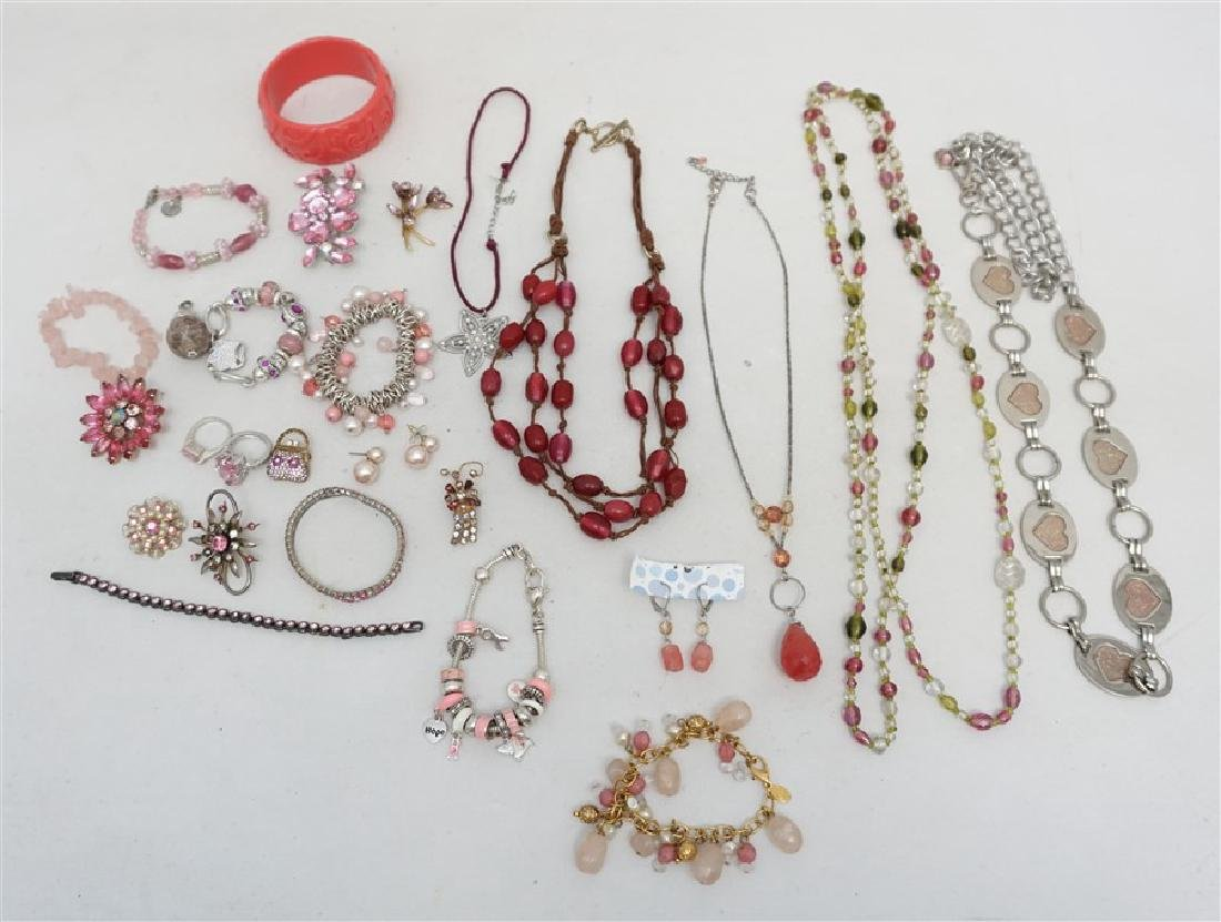 25 pc VINTAGE PINK COSTUME JEWELRY
