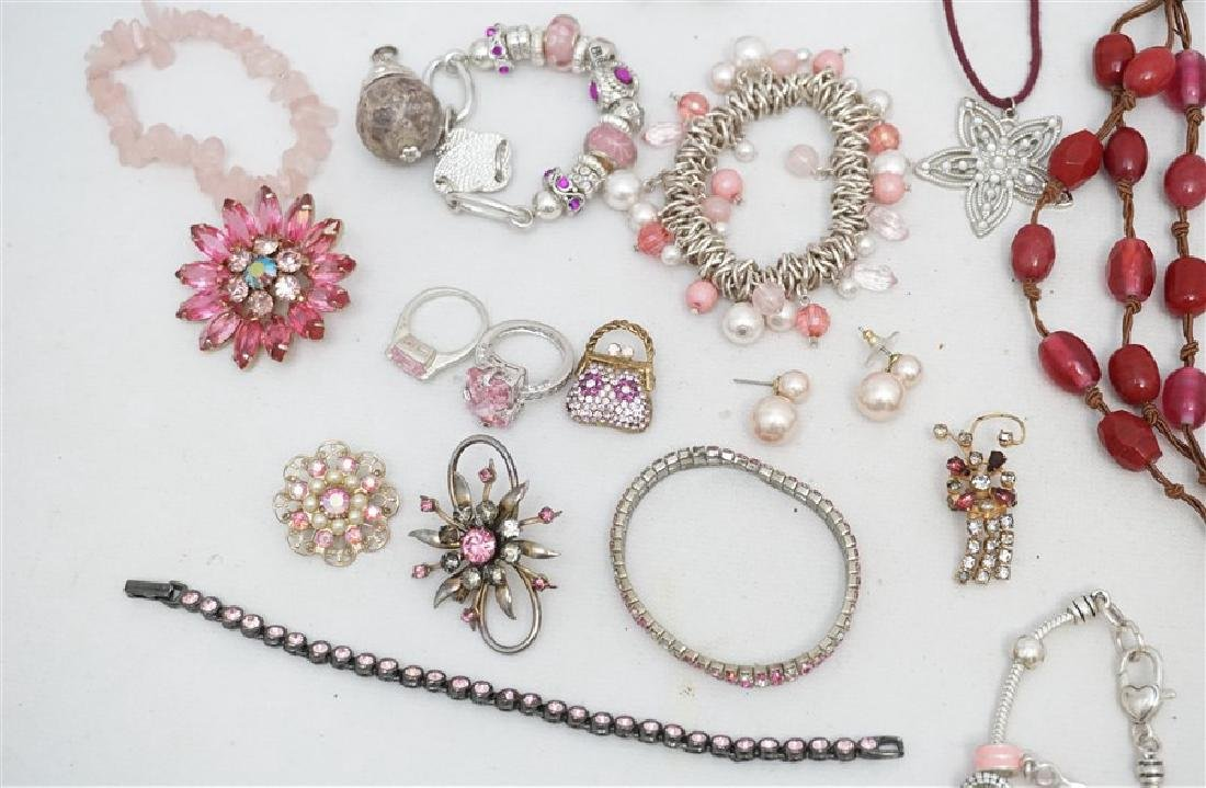 25 pc VINTAGE PINK COSTUME JEWELRY - 3