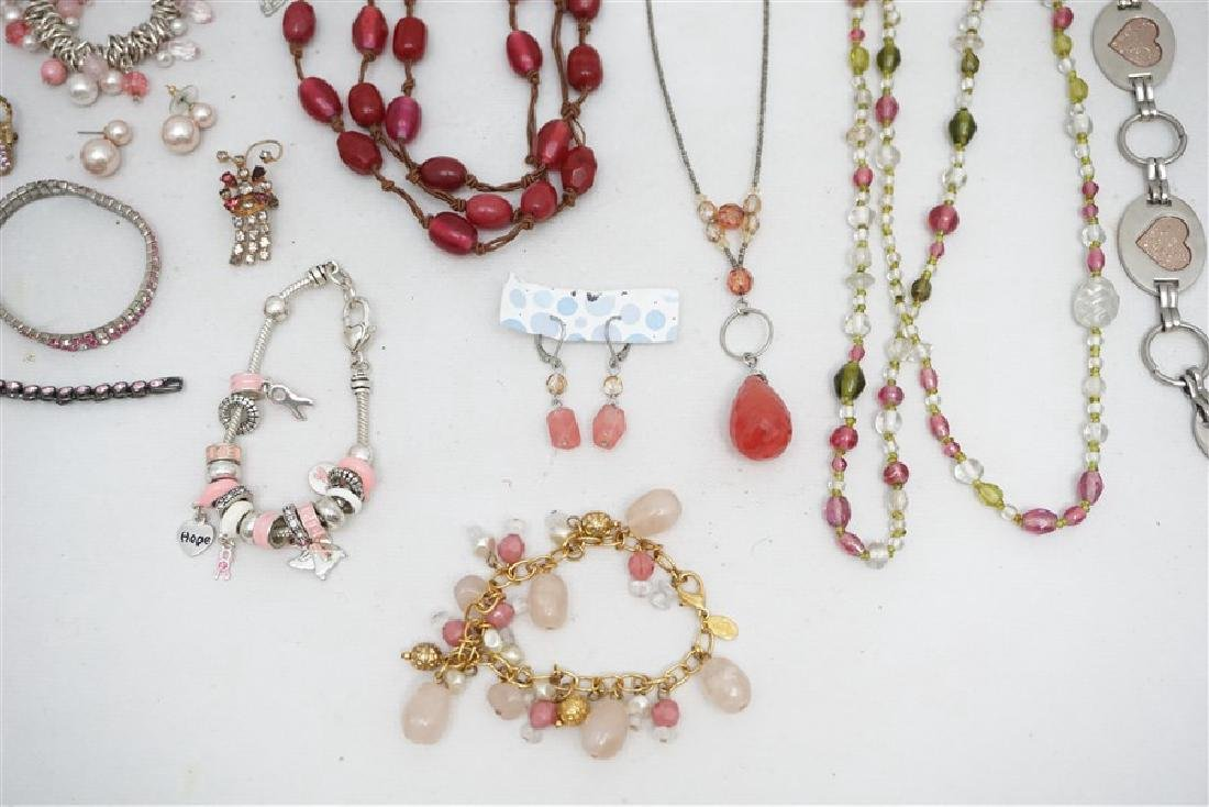 25 pc VINTAGE PINK COSTUME JEWELRY - 4