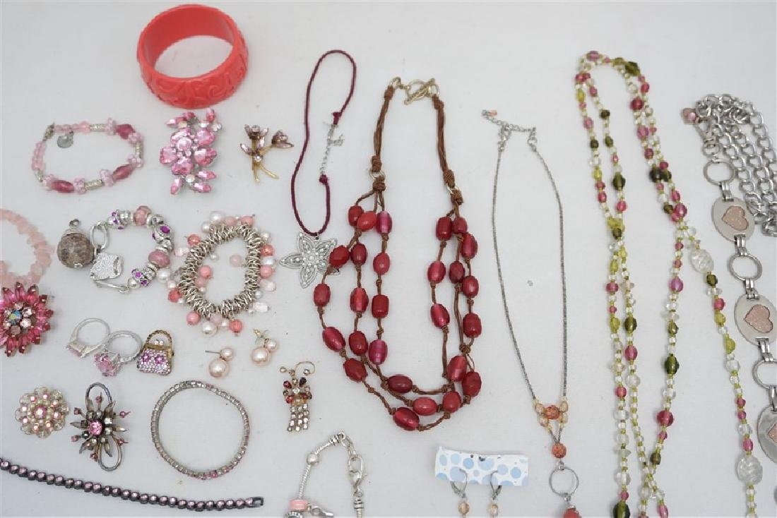 25 pc VINTAGE PINK COSTUME JEWELRY - 7