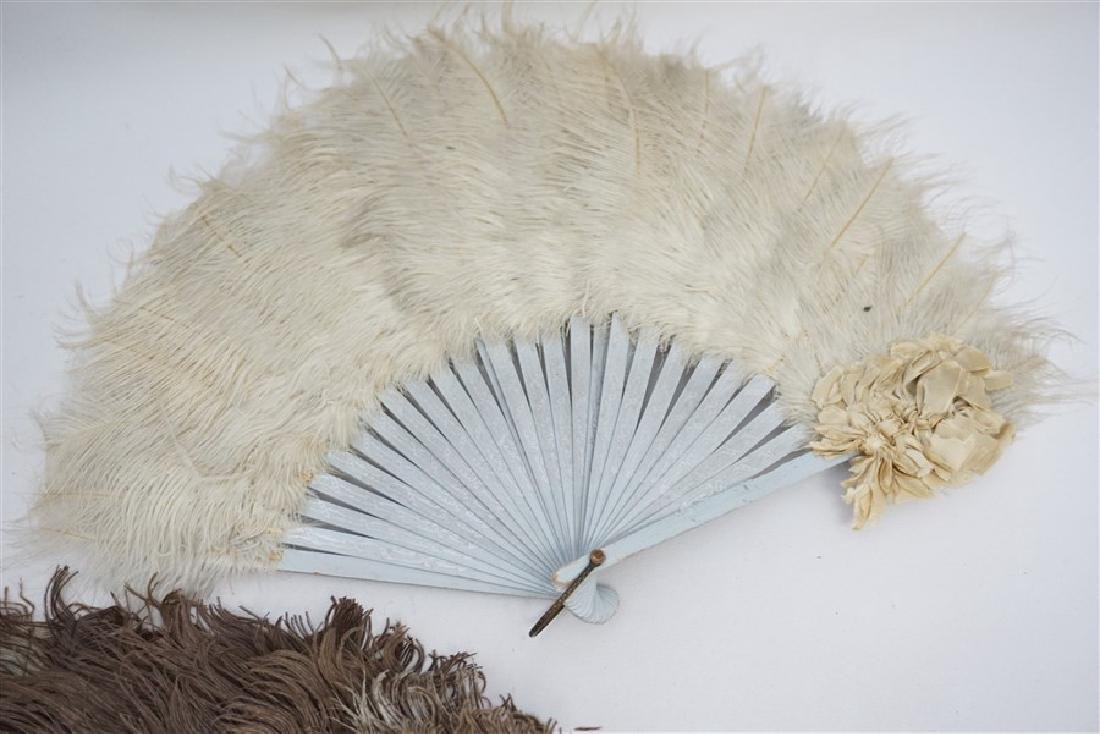 4 ANTIQUE FEATHER FANS - 5