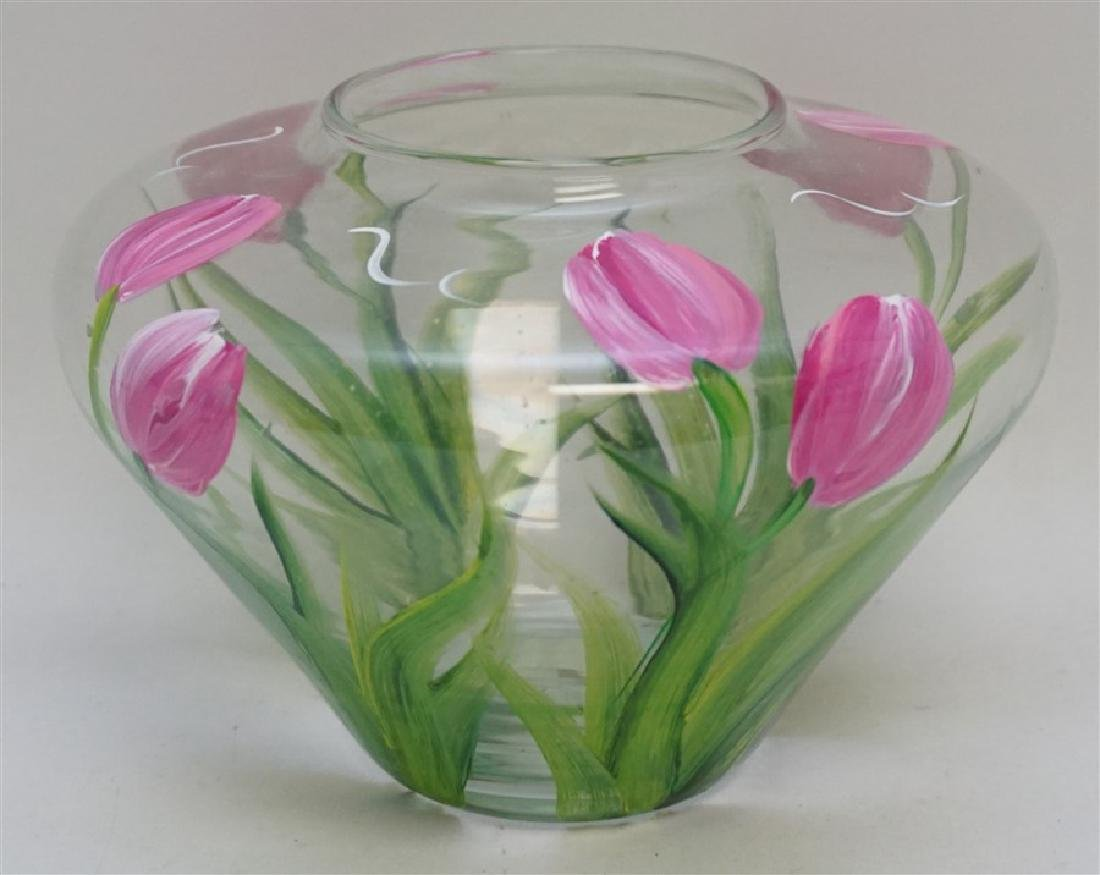 HAND PAINTED TULIPS GLASS VASE