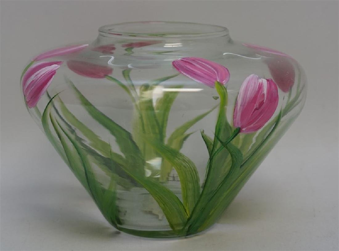 HAND PAINTED TULIPS GLASS VASE - 2