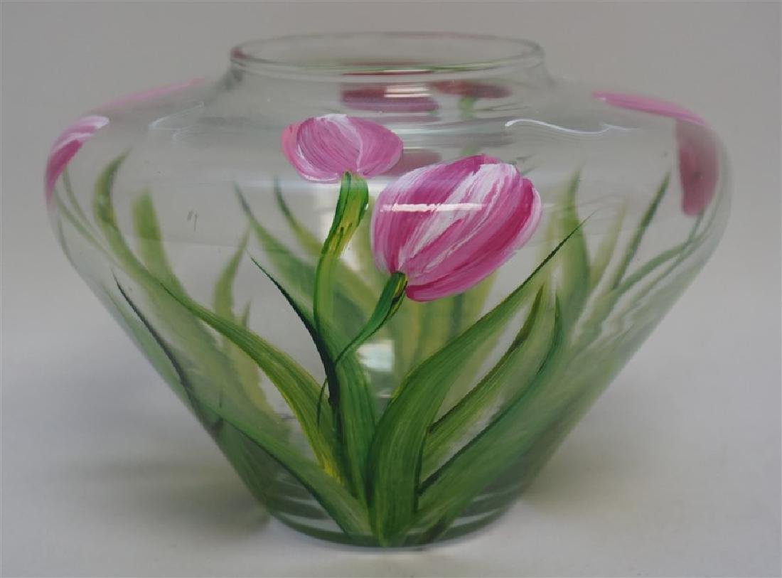 HAND PAINTED TULIPS GLASS VASE - 3