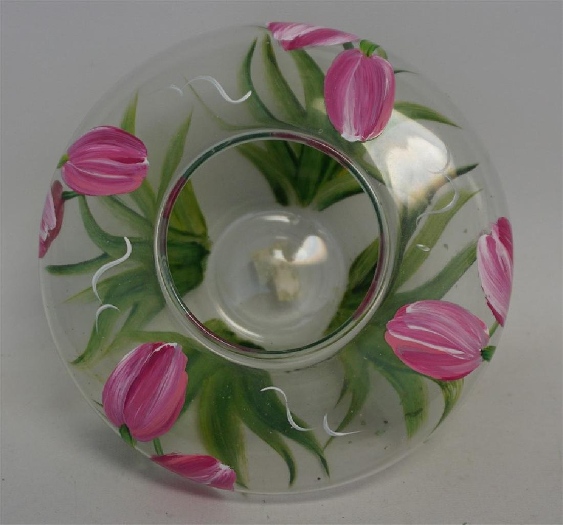 HAND PAINTED TULIPS GLASS VASE - 6