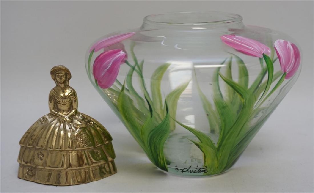 HAND PAINTED TULIPS GLASS VASE - 7