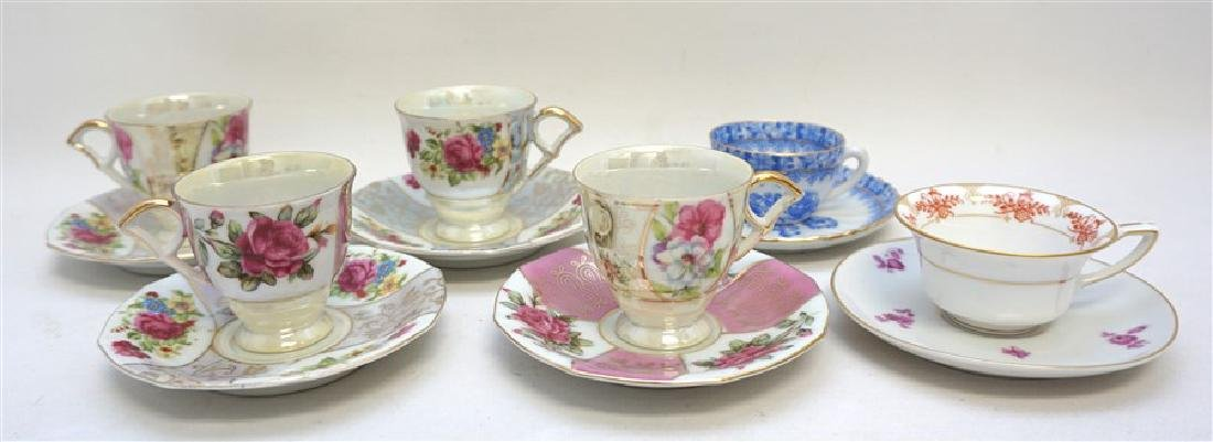 6PC SET PORCELAIN TEACUPS & SAUCERS