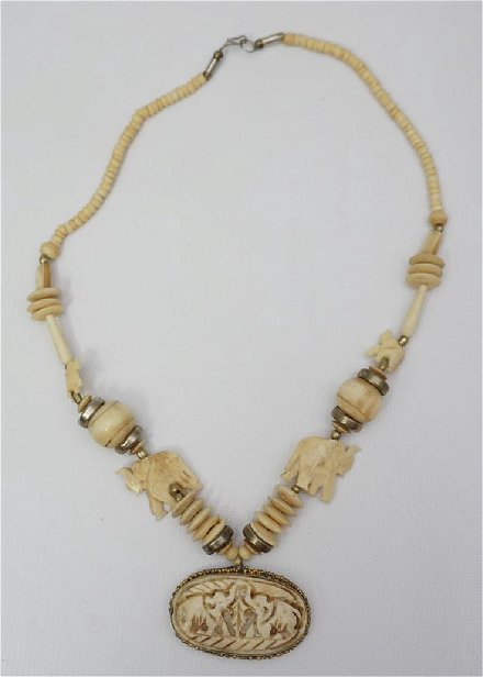 Carved Bone Elephant Necklace Jan 28 2018 Charleston Estate Auctions In Sc
