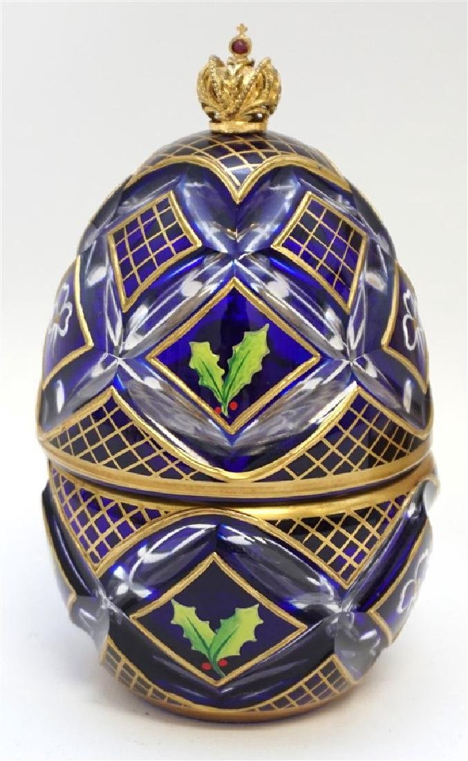 THEO FABERGE CRYSTAL, VERMEIL, STERLING SILVER EGG