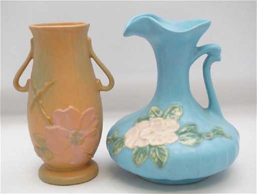 2 1930s Weller Pottery Vase Ewer
