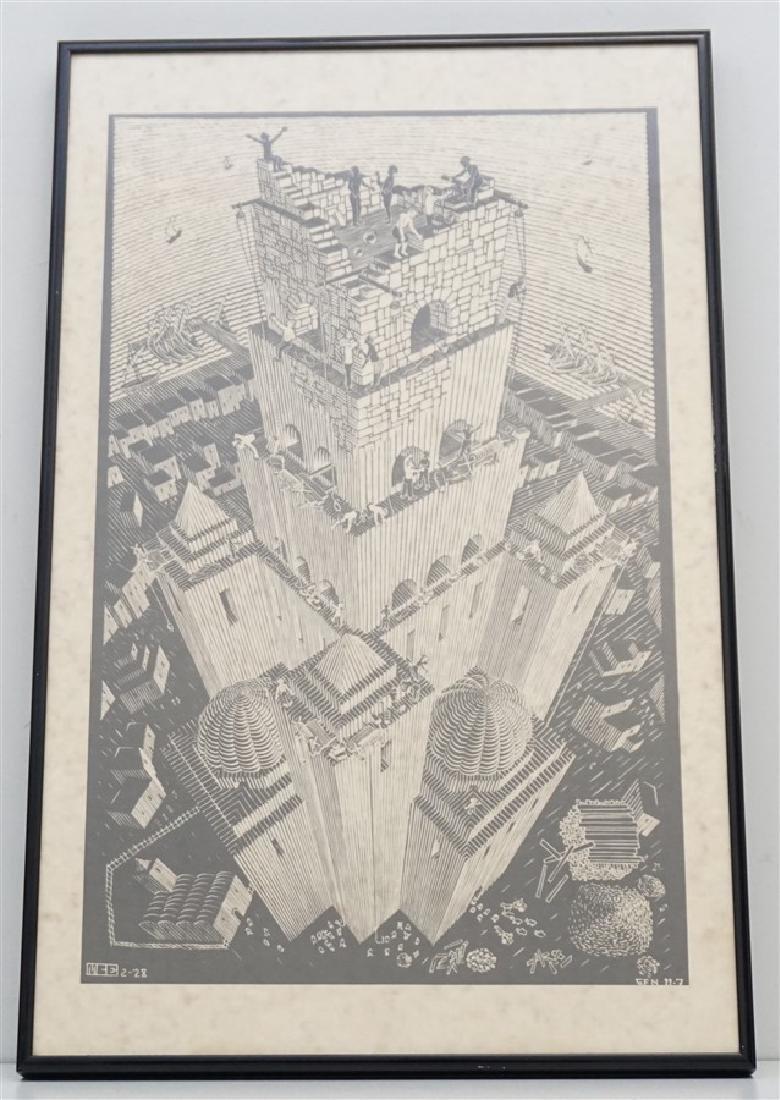 ESCHER TOWER OF BABEL WOODCUT