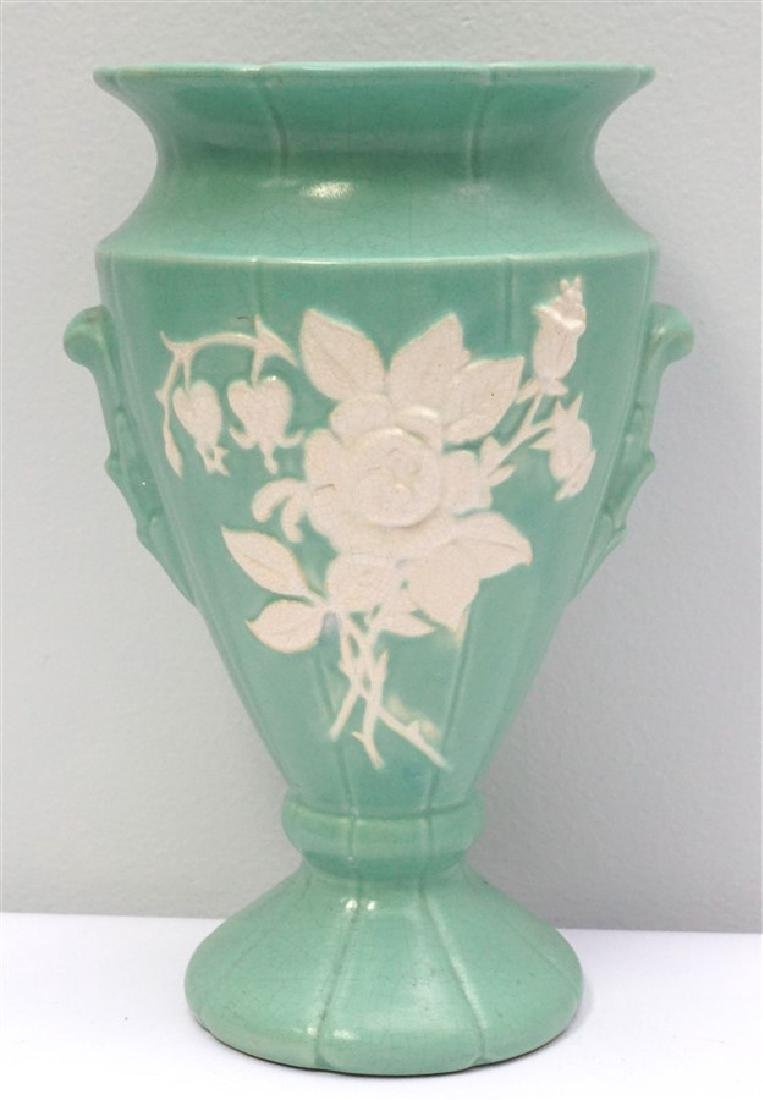 LARGE WELLER POTTERY CAMEO VASE ROSE