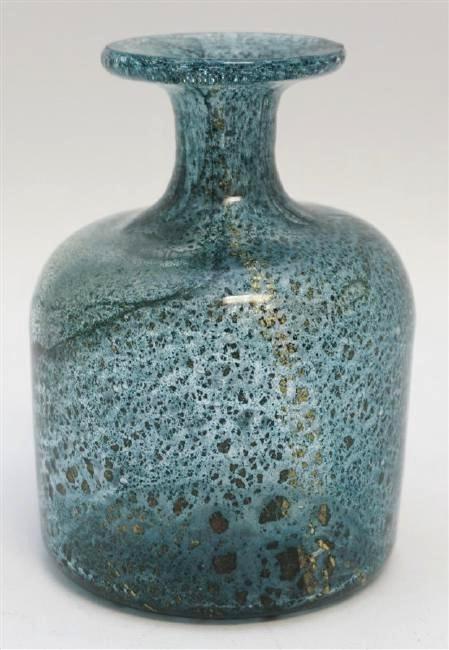 MID CENTURY MURANO BLOWN GLASS VASE W GOLD FLECKS