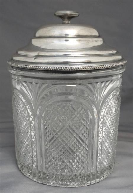 EAPG DIAMOND POINT BISCUIT / CRACKER JAR