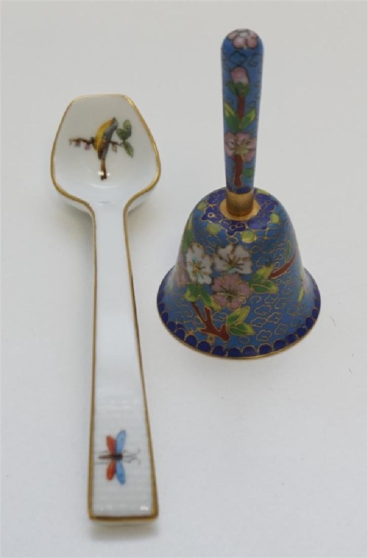 2 PC HEREND LADLE & MINIATURE CLOISONNE BELL
