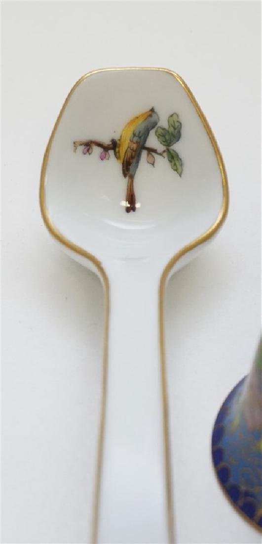 2 PC HEREND LADLE & MINIATURE CLOISONNE BELL - 2