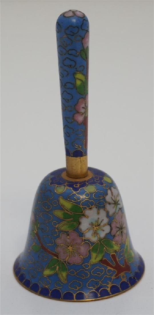 2 PC HEREND LADLE & MINIATURE CLOISONNE BELL - 3