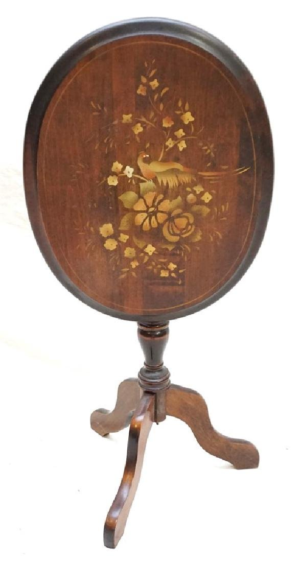 STENCIL DECORATED TILT TOP TABLE