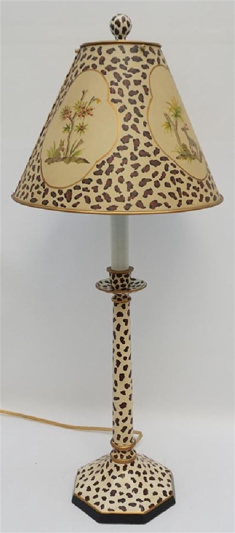 LEOPARD TOLE LAMP W HAND PAINTED SHADE
