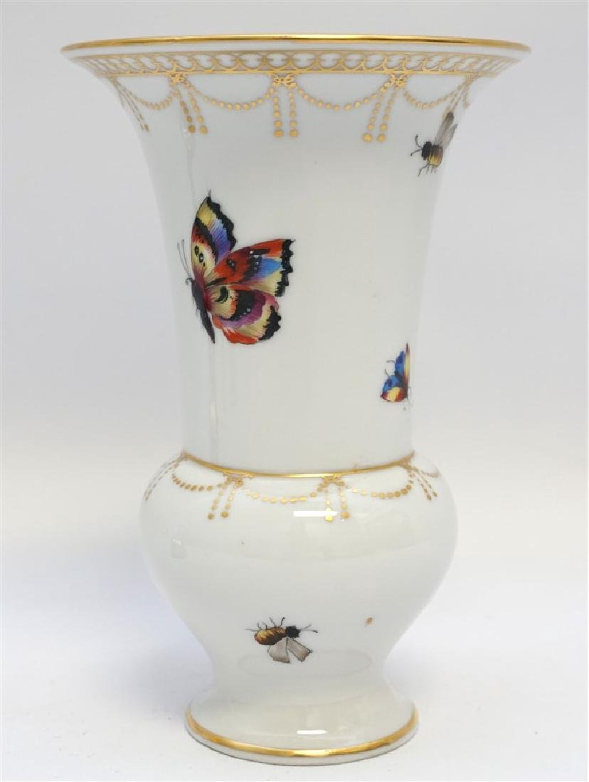 HAND PAINTED BUTTERFLY / INSECT ENAMELED PORCELAIN VASE