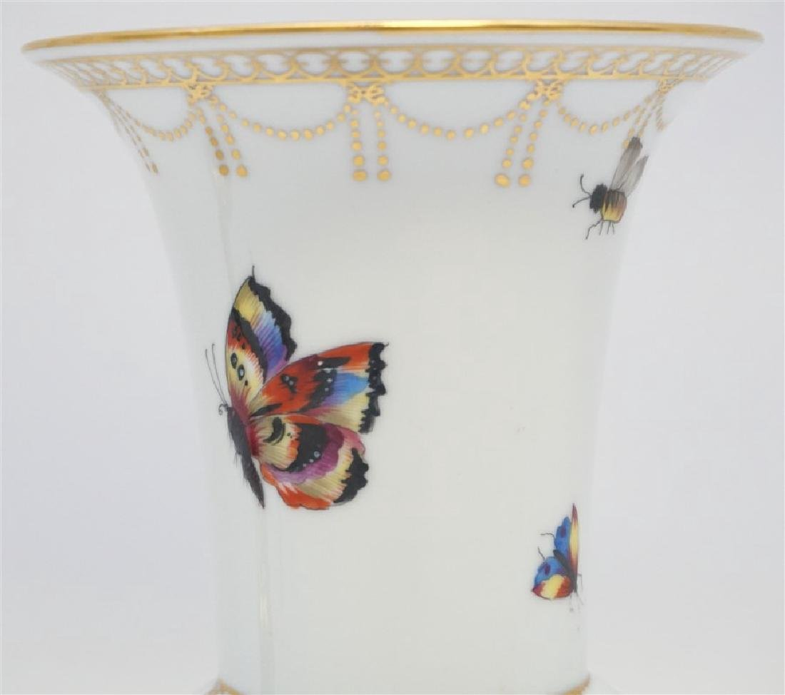 HAND PAINTED BUTTERFLY / INSECT ENAMELED PORCELAIN VASE - 2