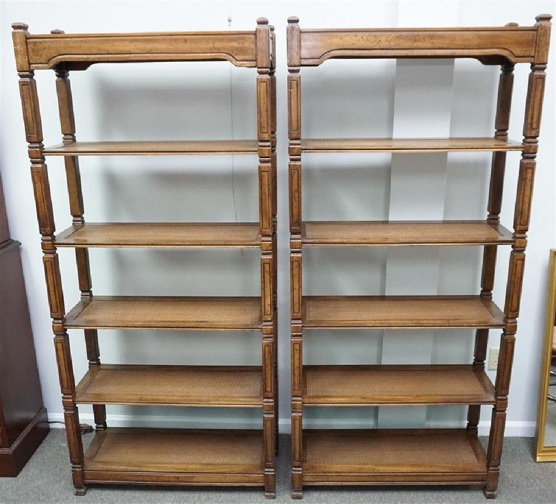 PAIR OF TALL WOOD & CANE  BOOKSHELVES