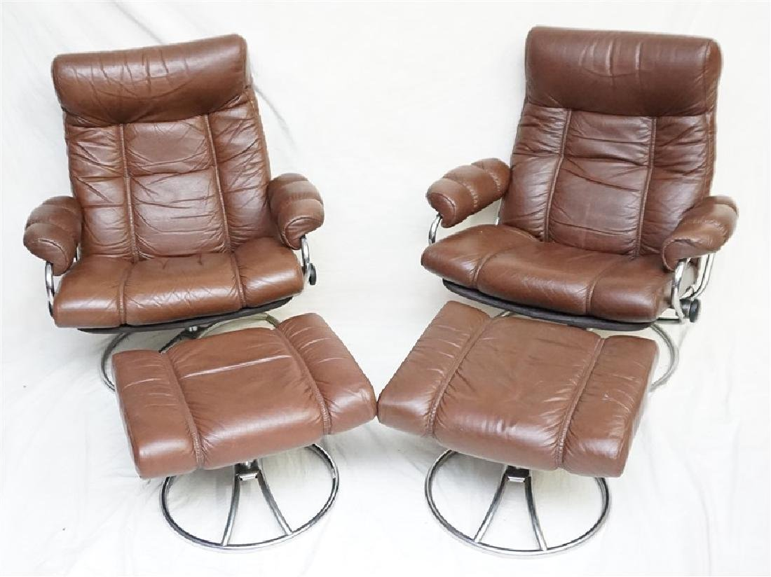 PAIR MID CENTURY EKORNES CHAIRS W OTTOMANS