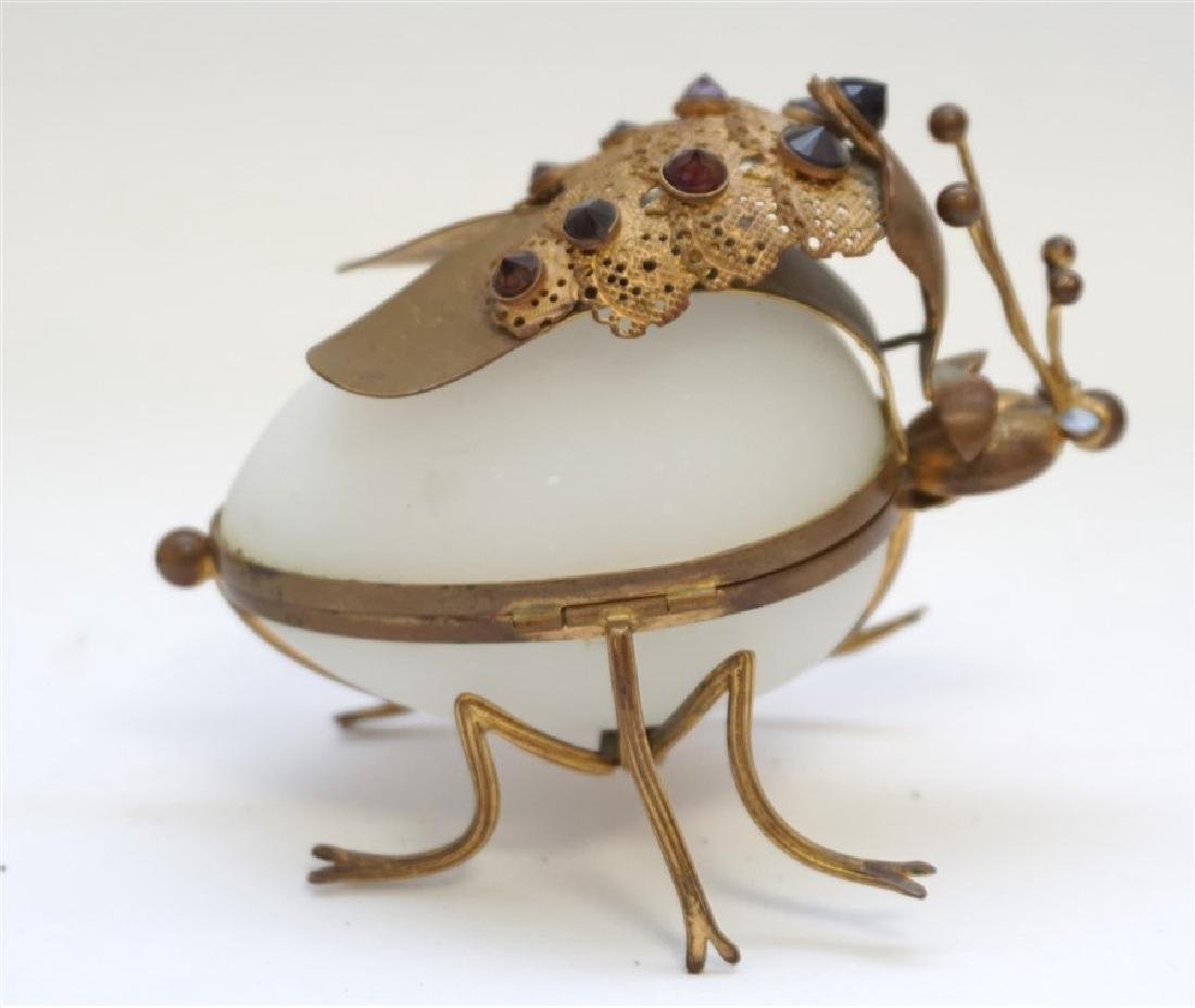 FRENCH OPALINE GLASS JEWELED INSECT BOX - 3