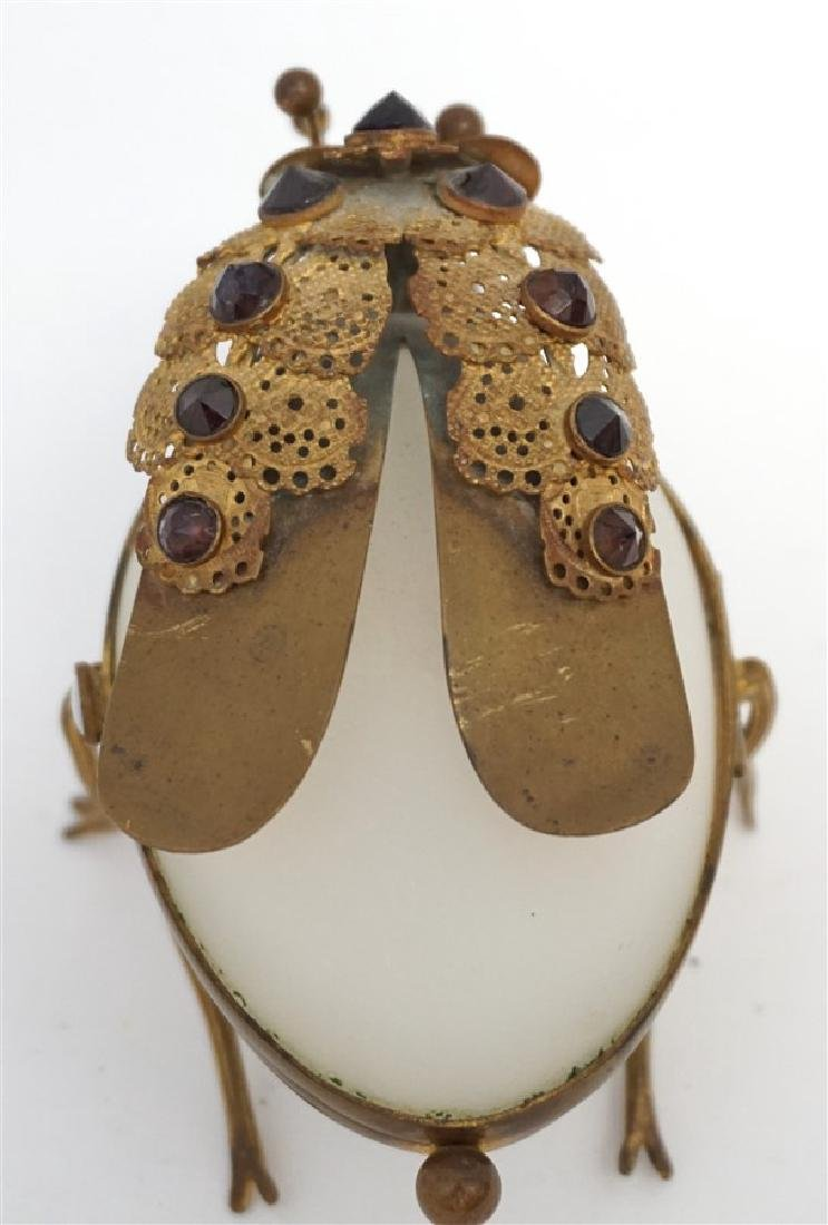 FRENCH OPALINE GLASS JEWELED INSECT BOX - 4