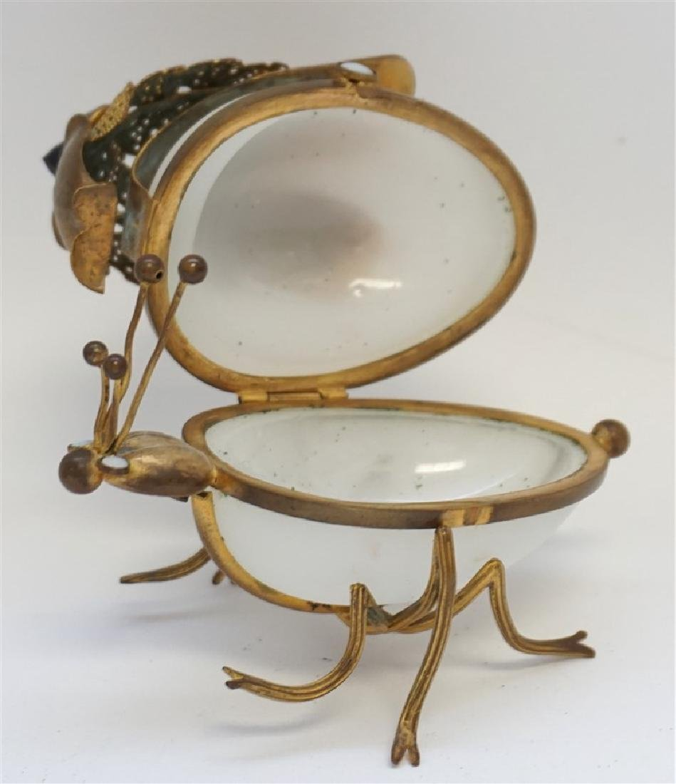 FRENCH OPALINE GLASS JEWELED INSECT BOX - 5