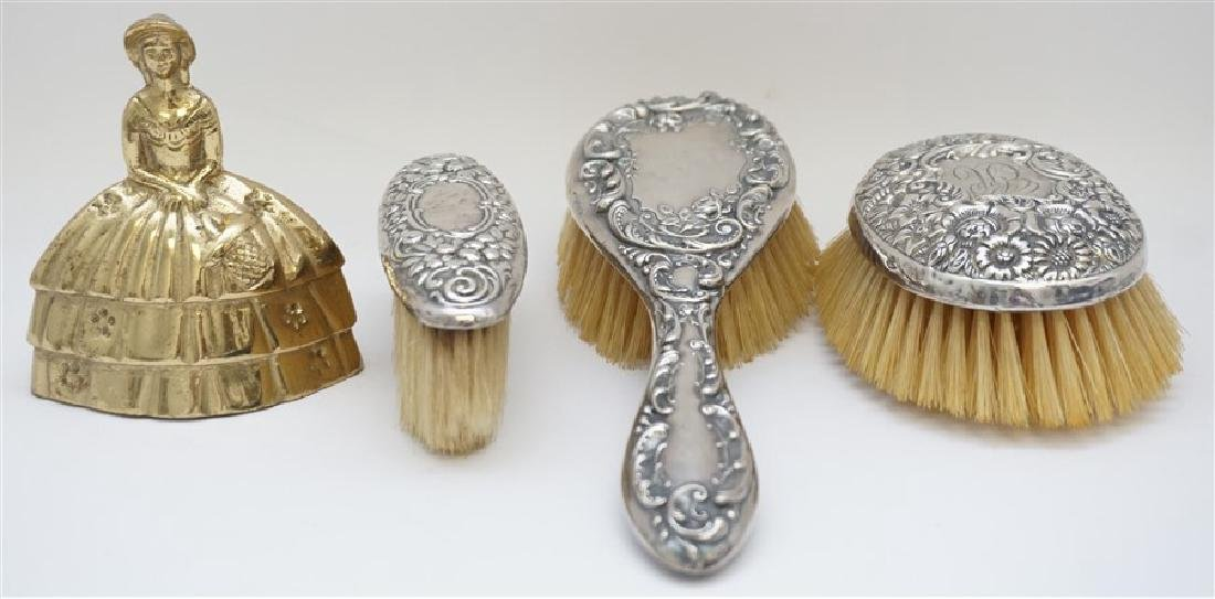 3 ANTIQUE STERLING SILVER REPOUSSE BRUSHES - 10