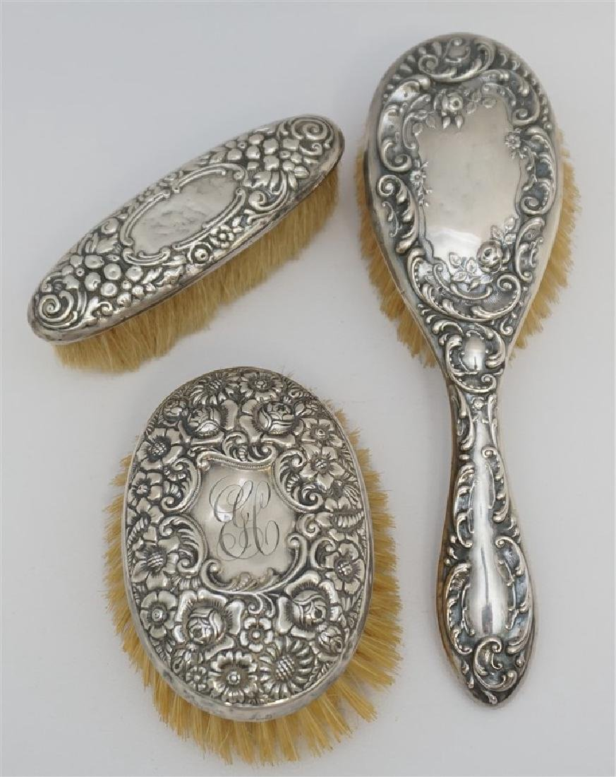 3 ANTIQUE STERLING SILVER REPOUSSE BRUSHES