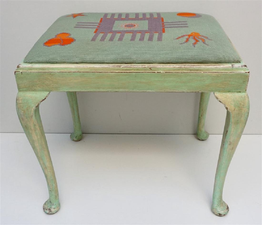PAINTED QUEEN ANNE BENCH W NEEDLEPOINT SEAT