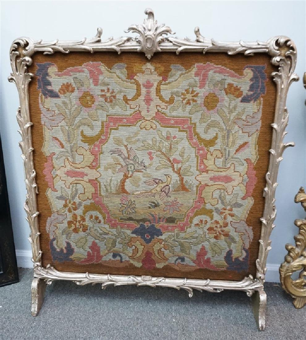 GILT WOOD TAPESTRY BIRDS FIRE SCREEN