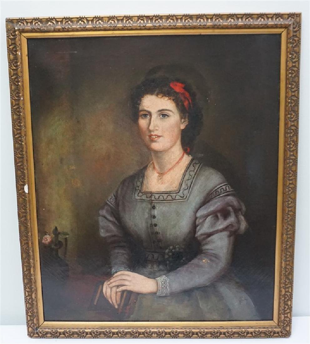 19th c. OIL ON CANVAS WOMAN'S PORTRAIT