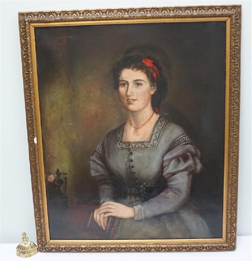 19th c. OIL ON CANVAS WOMAN'S PORTRAIT - 7