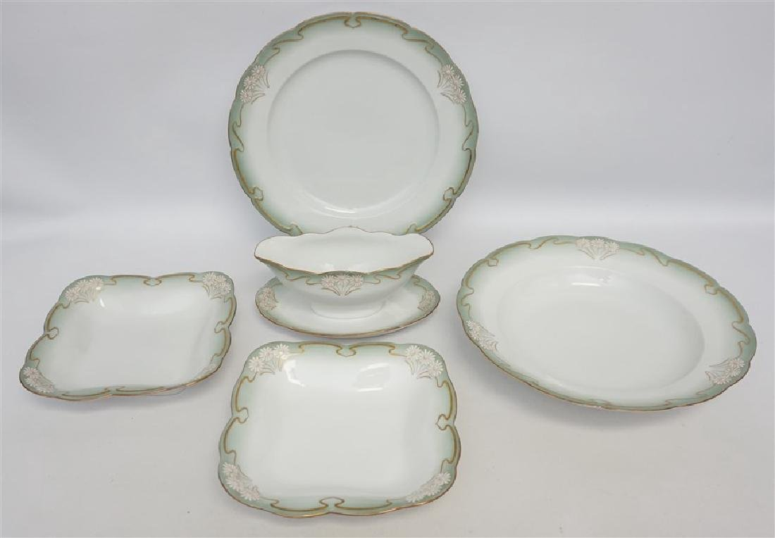 5 pc ART NOUVEAU DAISY - GILT SERVING BOWLS + GRAVY