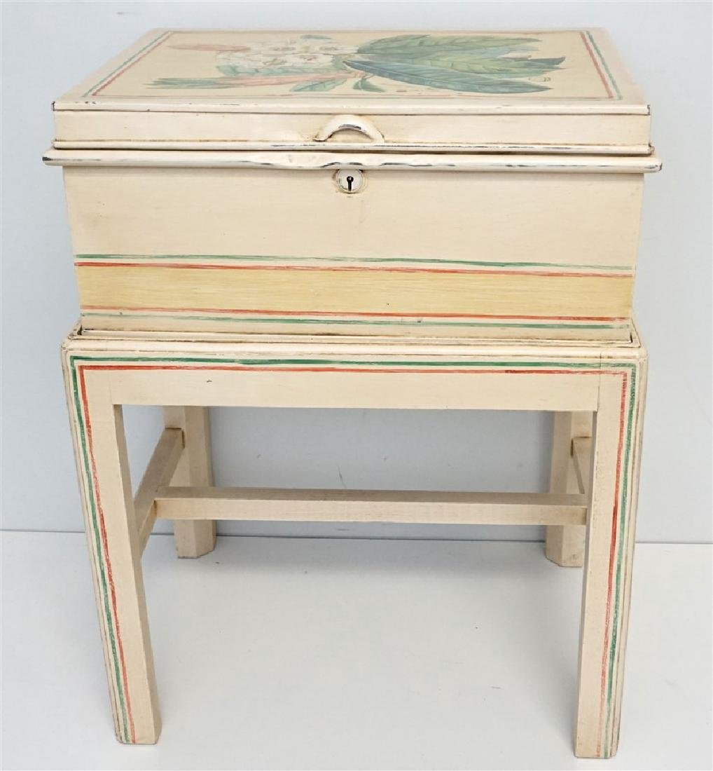 HAND PAINTED METAL CHEST ON STAND