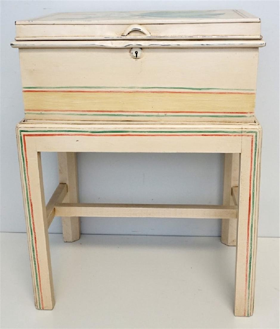 HAND PAINTED METAL CHEST ON STAND - 2