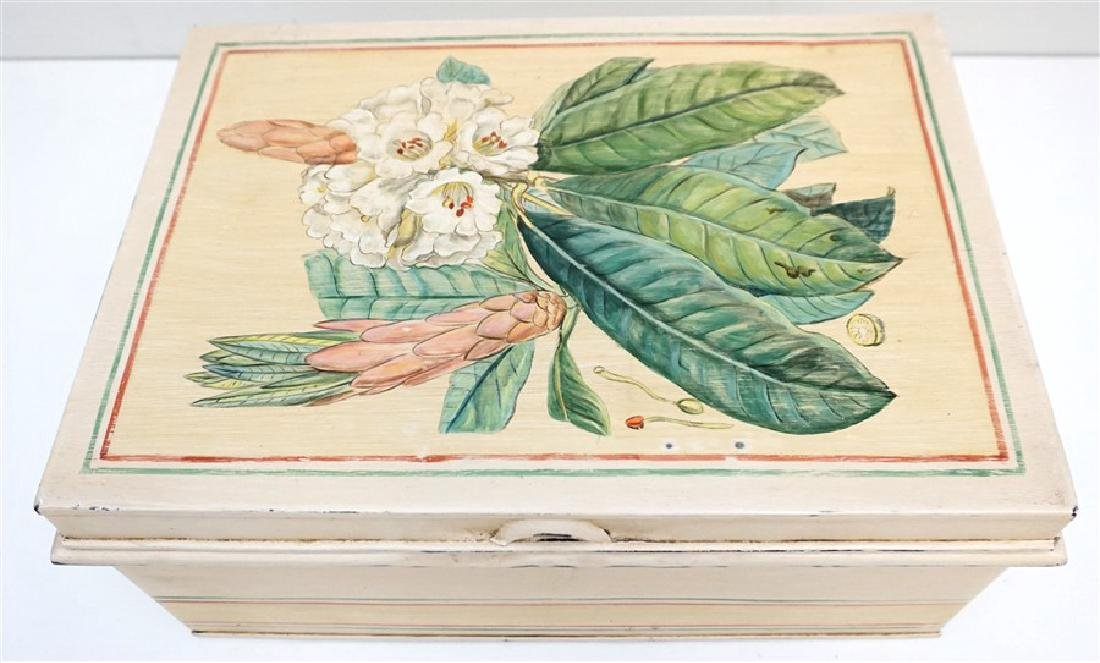 HAND PAINTED METAL CHEST ON STAND - 3