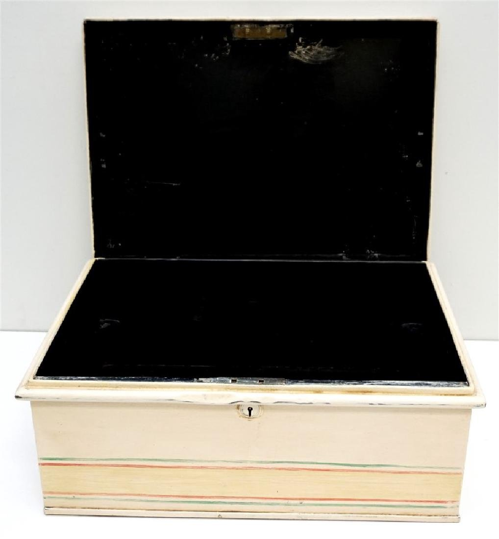 HAND PAINTED METAL CHEST ON STAND - 4